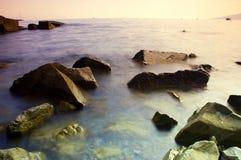черный заход солнца моря Стоковое Изображение