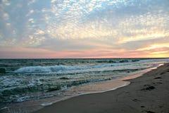 черный заход солнца моря Стоковое Изображение RF