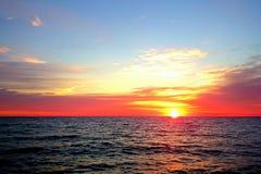черный заход солнца моря Стоковое фото RF