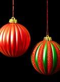 черный зеленый цвет рождества орнаментирует красный цвет Стоковое Изображение