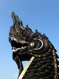 Черный змей, тайский дракон стиля Стоковое Изображение