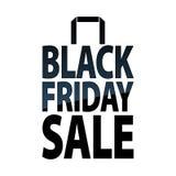 Черный значок бумажной сумки продажи пятницы Стоковые Изображения