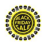 Черный значок круга черепа продажи пятницы бело Стоковые Изображения RF