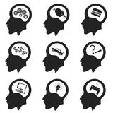 Черный значок человеческой головы Вектор Illustartion стоковые фото