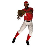 Черный игрок в дальней части поля бейсбола стоковое изображение rf