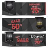 Черный дизайн знамени вектора продажи пятницы Стоковые Фотографии RF