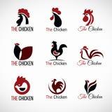 Черный дизайн красного и коричневого вектора логотипа цыпленка установленный Стоковое фото RF