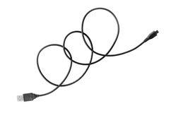 черный изолят кабеля USB провода на белизне Стоковое Фото