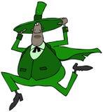 Черный ирландец держа дальше к его шляпе пока бегущ Стоковая Фотография