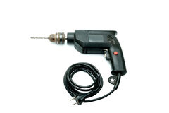 Черный (используемый) электрический сверлильный аппарат Стоковые Изображения