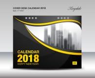 Черный и желтый дизайн настольного календаря 2018 крышки, шаблон рогульки Стоковое Изображение