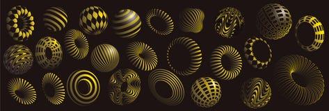 Черный и желтый комплект вектора форм 3d Стоковое Фото