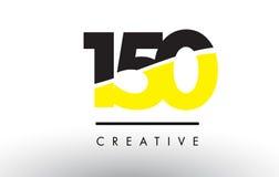 150 черный и желтый дизайн логотипа номера Стоковое фото RF