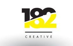 182 черный и желтый дизайн логотипа номера Стоковое фото RF