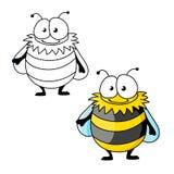 Черный и желтый striped меховой шмель шаржа Стоковые Фото