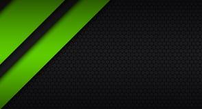 Черный и зеленый современный материальный дизайн с шестиугольной картиной Стоковые Фотографии RF
