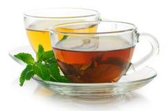 Черный и зеленый чай стоковые изображения rf