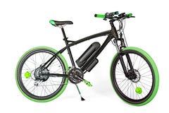 Черный и зеленый электрический велосипед Стоковые Изображения