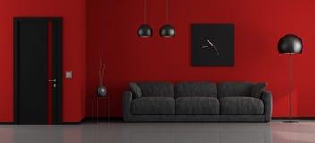 Черный и красный минималистский салон Стоковое Изображение