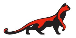 Черный и красный силуэт кота Стоковые Изображения