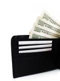 Черный кожаный бумажник с долларами стоковое фото rf