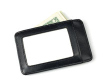Черный кожаный бумажник с стогом долларов внутрь Стоковые Фотографии RF