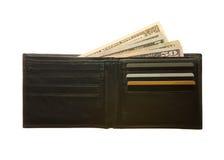 Черный кожаный бумажник Стоковые Изображения