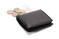 черный кожаный бумажник Стоковое Изображение
