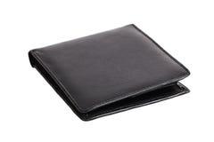 черный кожаный бумажник Стоковое Фото