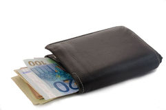 Черный кожаный бумажник Bi-створки стоковое фото rf