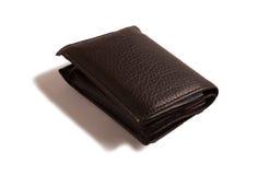 Черный кожаный бумажник gents на белой предпосылке Стоковые Изображения RF