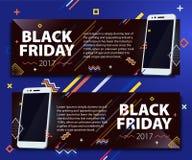 Черный комплект знамени продажи пятницы Продажа плаката Шаблон в стиле Мемфиса Модные и современные знамена для рекламировать Бел Стоковое фото RF