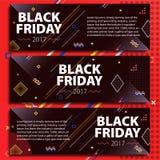 Черный комплект знамени продажи пятницы Продажа плаката Шаблон в стиле Мемфиса Модные и современные знамена для рекламировать Чер Стоковая Фотография