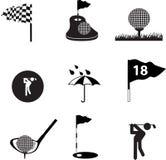 черный комплект иконы гольфа Стоковое Изображение RF