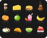 черный комплект иконы завтрака Стоковые Фото