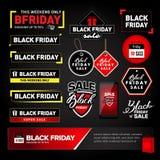 Черный комплект элементов дизайна продажи пятницы Черные ярлыки надписи продажи пятницы, стикеры Изолированные иллюстрации вектор иллюстрация штока