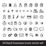 Черный комплект вектора значков дела Стоковое Фото