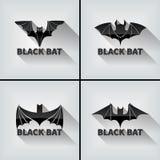 Черный комплект летучей мыши символ Шаблон логотипа вектора, эмблема Иллюстрация вектора
