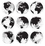 Черный комплект значка вектора земли глобуса Стоковое Изображение RF