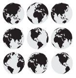 Черный комплект значка вектора земли глобуса Стоковая Фотография