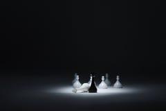 Черный король рядом с нанесенным поражение белым королем, белыми пешками на задней части Стоковая Фотография