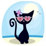 Черный котенок на пляже иллюстрация вектора