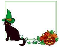 Черный кот в шляпе ведьмы и тыкве хеллоуина Стоковое фото RF