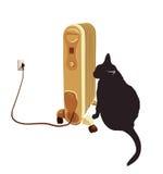 Черный кот греясь около подогревателя также вектор иллюстрации притяжки corel Стоковые Изображения