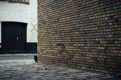 Черный кот за кирпичной стеной на улице в Брюгге, Бельгии Стоковое Изображение