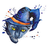 черный кот отдельно стоящий эскиз Символ хеллоуина Waterc Стоковые Изображения RF