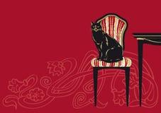 черный кот самомоднейший Стоковые Изображения