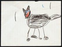 черный кот чертеж s ребенка иллюстрация вектора
