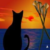 черный кот иллюстрация вектора