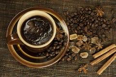 Черный кофе с специями Стоковые Фото
